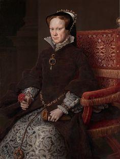 Anthonis Mor van Dashorst (Antonio Moro) ~ Maria Tudor, koningin van Engeland en Ierland ~ 1554 ~ Olieverf op hout ~ 109 x 84 cm. Elizabeth Woodville, Elizabeth Ii, Adele, Queen Mary Of England, Queen Mary Tudor, Henri Viii, Mode Renaissance, Lady Jane Grey, English Monarchs
