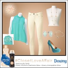 This Glamorously Girlie look was inspired by Downy Infusions Cashmere Glow and Downy Unstopables Glow. These parchment pants anchor and sky-blue blouse make you look ethereally elegant. To shop this look, visit the LC Lauren Conrad collection available only at Kohl's. To register for the #ClosetLoveAffair sweepstakes visit https://downy.promo.eprize.com/pinterest/.