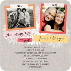 Then and Now photos for your anniversary party invitation!