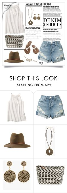 """""""Denim Cutoff Shorts"""" by s-p-j ❤ liked on Polyvore featuring 3x1, rag & bone, Chico's, Mercado Global and Volcom"""