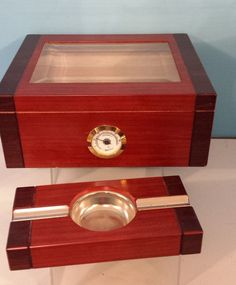 Cigar Humidor Humidifier Hygrometer Case Holder Box Glass Top Matching Ashtray  #Unknown