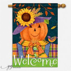 Scarecrow Pumpkin House Flag to welcome guests and celebrate