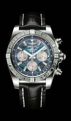 Chronomat 44 diamond diver's watch by Breitling - 18K white gold case, black pearl diamond dial, black croco strap.