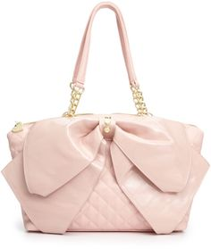 betsey johnson accessories WITH BOWS | Betsey Johnson Bow Satchel in Pink (Pink Quilted)
