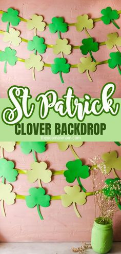 This St Patrick's Day Backdrop is the perfect addition to any St Patrick's Day party you plan hosting this year. Made with just cardboard and ribbon it's easy enough for the little ones to help. #easypeasycreativeideas #clover #cloverbanner #stpatrick #stpatricksday #stpatrickcrafts #paper #papercrafts #cloverbackdrop #homedecor #walldecor