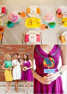Love the colors, flowers, prints, fonts - Retro Bridal Shower by Olivia Leigh Photographie + Hello Darling | Style Me Pretty