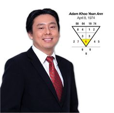 Adam Khoo, a Singaporean serial entrepreneur, best-selling author, trainer, professional stocks & FX  trader, is born  8Apr1974. A root 6, he has the fortune of attracting wealth & is a family oriented. He is a good communicator, charismatic presenter & leader, who is successful & respectable. He is a strong planner & believe in his own principle, with lots of business opportunities & success. Do you know your numbers for success? Go to numerology.anselmang.com & find out. #adamkhoo #author