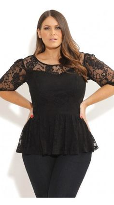 Plus Size Lace Dancer Peplum Top - City Chic - City Chic