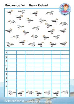 Hoeveel meeuwen van elk, meeuwengrafiek, thema Zeeland, kleuteridee, Kindergarten math graphic activity, free printable.