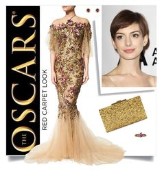 """""""The Oscars Red Carpet Anne Hathaway"""" by cheesyxshirleyxo ❤ liked on Polyvore featuring Nina Ricci, Marchesa, FerrariFirenze, Halston Heritage and RedCarpet"""