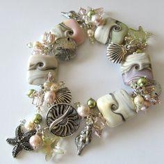 Handmade Beaded Jewelry And Lampwork Jewelry Designs - Pacificjewelrydesigns.com - Lampwork beaded bracelet Summer Beaches