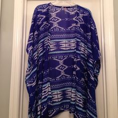 Aztec Print Kimono NWOT! Purchased for a beach cover-up but never wore it. Navy blue, white and aqua aztec-ish pattern. Very light and flowy fabric. Slightly longer on the sides. Forever 21 Tops