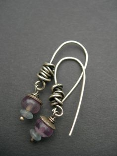 wire wrap earrings, blue purple and gold. I like the wire wrapping on these.