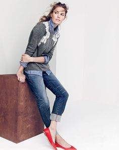 NOV '15 Style Guide: J.Crew women's lace appliqué sweater, selvedge chambray shirt, Point Sur Japanese denim with cashmere jean in Lynndale wash and Gemma flats.
