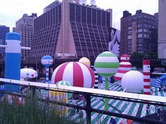 Creepy inflatable park, seen from the High Line, New York City.