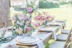 Beautiful reception table with pink florals