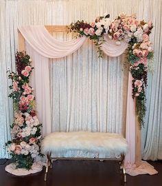 Pink Paisley Decor on Rustic florals decoracin romantic Wedding Stage Decorations, Wedding Stage Backdrop, Wedding Backdrop Design, Engagement Decorations, Backdrop Decorations, Backdrops, Balloon Decorations, Wedding Stage Design, Quince Decorations