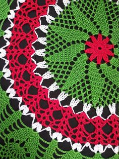 Large green red inches-christmas doily-crochet doily-christmas decor-gift for christmas-green tablecloth Motif Mandala Crochet, Free Crochet Doily Patterns, Christmas Crochet Patterns, Holiday Crochet, Free Pattern, Crochet Tablecloth Pattern, Crochet Quilt, Crochet Home, Thread Crochet