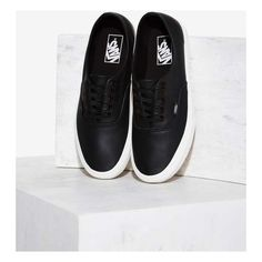Vans Authentic Lo Pro Sneaker (€63) ❤ liked on Polyvore featuring shoes, sneakers, black, black lace up shoes, lace up shoes, leather low top sneakers, platform shoes and vans sneakers