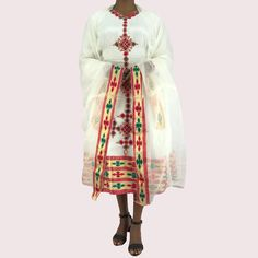 Traditional Ethiopian Habesha Dress, Handmade embroidered, Short Length by EthiopianDressShop on Etsy Ethiopian Wedding Dress, Ethiopian Dress, Ethiopian Traditional Dress, Traditional Dresses, Stunning Dresses, Habesha Kemis, Eritrean, 1 Piece, Kimono Top