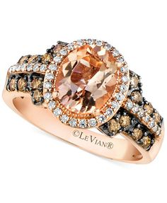 Le Vian Morganite (1-3/8 ct. t.w.) and Diamond (1/2 ct. t.w.) Ring in 14k Rose Gold