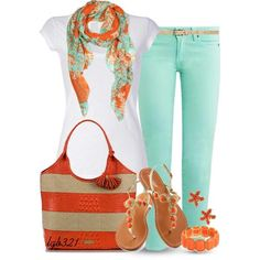 Cute Coral/Turquoise Outfit for work, date or going out with your lady friends....