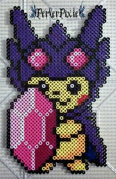 Pikachu in a Mega Sableye Hoodie by PerlerPixie.deviantart.com on @DeviantArt