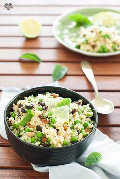 Cous cous con piselli e mandorle, leggero e nutriente, con un tocco fresco di menta! #couscous #piattofreddo