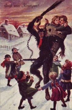 "Creepy Krampus: 30 Vintage Postcards of the ""Devil Santa Claus From Europe"" That Will Haunt Your Dreams Baphomet, Creepy Nursery Rhymes, Yule Goat, Dark Christmas, Xmas, Bad Santa, Vintage Christmas Cards, Christmas Postcards, Vintage Holiday"