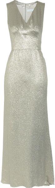 OSCAR DE LA RENTA   Metallic Silk-blend Jacquard Dress