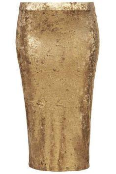 {gold velvet foil tube skirt - now $21 - topshop}
