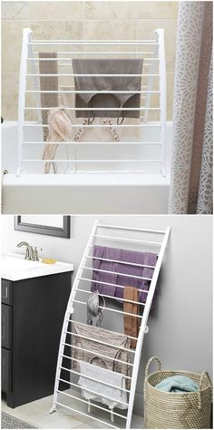 10 space-saving drying racks for small spaces - Bathtub Drying Rack. This space-saving drying rack can be leaned against a wall or folded over tub or sink providing drying space in a small footprint. Laundry Room Drying Rack, Drying Rack Laundry, Clothes Drying Racks, Laundry Room Organization, Laundry Closet, Small Laundry Rooms, Laundry Room Design, Diy Furniture Plans, Home Decor Furniture