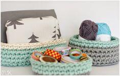 cestas trapillo: redonda, cuadrada, ovalada Crochet Home, Cute Crochet, Crochet Baby, Cotton Cord, T Shirt Yarn, Crochet Patterns, Basket, Diy Crafts, Sewing