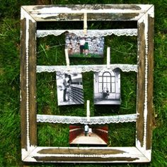 make a picture holder... tightly attach lace strips to the back of a picture frame and pin pictures to it!