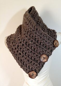 CLEARANCE SALE Button Scarf, Crochet Scarf, Crochet Cowl, Chunky Cowl, Warm, Soft, Functional Coconut Buttons