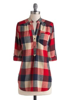 Bonfire Stories Tunic in Red Plaid - Blue, Tan / Cream, Plaid, Buttons, Pockets, Casual, Cotton, Woven, Red, Rustic, 3/4 Sleeve, Long, Red, ...