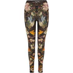 Alexander McQueen Black Dragonfly & Flowers Print Leggings ($685) ❤ liked on Polyvore