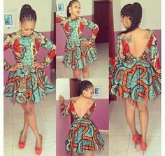 Back out long sleeve skater dress African prints