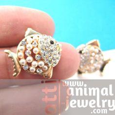 Fish Sea Animal Shaped Stud Earrings in Gold with Rhinestones $6.99