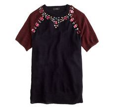 J. Crew Jeweled Sweater Tee in Navy Cabernet