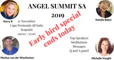 A day filled with Angelic Guidance and Presence Amazing Speakers on current Spiritual and Ascension topics. Dont miss out, early bird special ends today Angel Messages throughout the day Healing and Meditations Panel Discussions Top Speakers, Angel Guidance, Early Bird, Meditation, Spirituality, Healing, Events, Messages, Website
