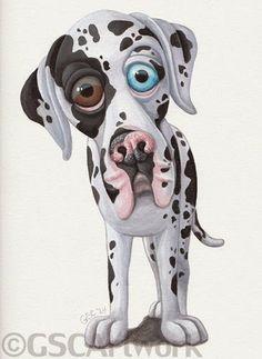 great dane dog puppy animal pet cartoon caricature fine art acrylic painting artwork