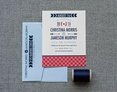 Custom Modern Geometric Wedding Save the Date Card  by LamaWorks
