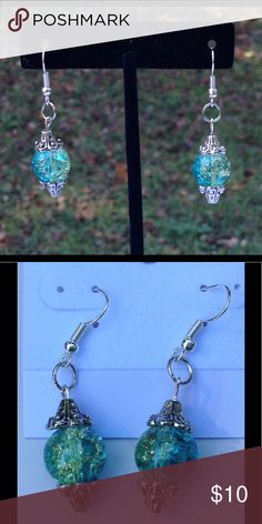 Blue and Green Glass Earrings These pretty earrings are made with blue and green duotone glass beads. They have an amazing sparkle when the light catches them! All PeaceFrog jewelry items are made by me! Take a look through my boutique for coordinating jewelry and more unique creations. PeaceFrog Jewelry Earrings