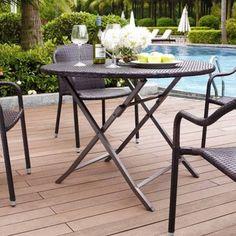 "Crosley Palm Harbor Outdoor Wicker Folding Table Brown 2"" Umbrella Hole Steel  #Crosley"