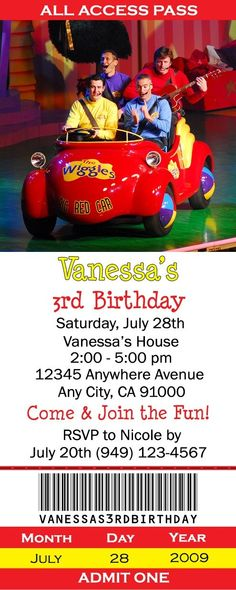 Wiggles Birthday Invitations 12 pcs by thebellecreations on Etsy
