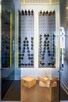 Storage isn't always about keeping things out of sight. This custom glass wine cabinet with refrigeration allows wine to be stored properly and tastefully while always being able to view what is on hand. Industrial Design Furniture, Furniture Design, Outside Bars, Wine Cabinets, Custom Glass, Storage Design, Wine Storage, Entertainment Room, Apartment Interior