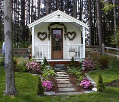 Our Pond House Cabin, recently featured in Better Homes & Gardens, is available as shed kits, fully assembled buildings, or diy shed plans ($50). The pictured 10' × 16'  features optional pine clapboard siding and a porch railing. http://www.bhg.com/home-improvement/outdoor/shed-playhouse/a-gallery-of-garden-shed-ideas/?page=5#page=10 http://jamaicacottageshop.com/shop/pond-house/ http://jamaicacottageshop.com/wp-content/uploads/pdfs/pdf10x16pondhouse.pdf