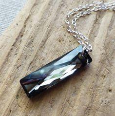 Swarovski Crystal Necklace Black Diamond Prism Pendant by JBMDesigns Christmas Gift Gift for Her Handmade Jewelry