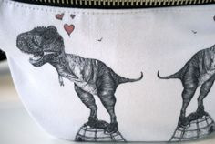 Illustrated 'T-rex' canvas cotton Bumbag, bag, fanny pack, leather, ykk zips, sea green cotton lining  plum quake illustrations  #dinosaur #bag  https://www.etsy.com/uk/listing/168222152/illustrated-t-rex-canvas-cotton-bumbag?ref=shop_home_active